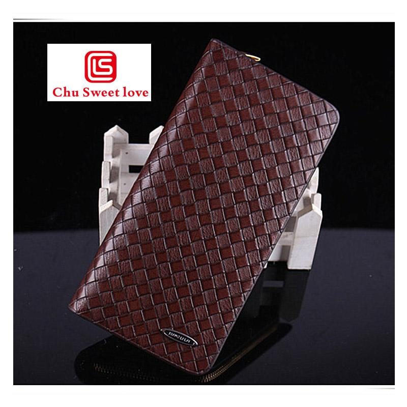Men's Knitting Vintage Casual Zipper Wallet Business Clutch Bag Multi-card Multi-Function Wrist Bag Mobile Phone Man Purse