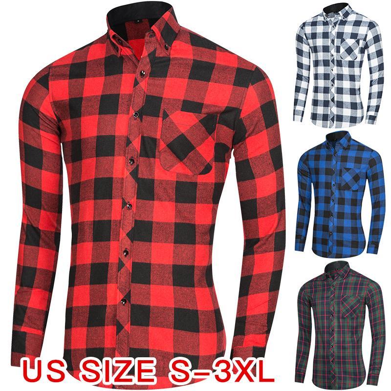 02df7c907 Nueva Moda Hombres Camisa A Cuadros Informal Camisas de Franela de Manga  Larga Delgada Masculina Ropa de Marca Rojo y negro camisa masculina 5XL