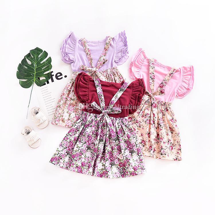 Baby Girls Floral Straps Skirts INS Floral print suspender dresses Boutique kids clothing 2018 Summer C3615