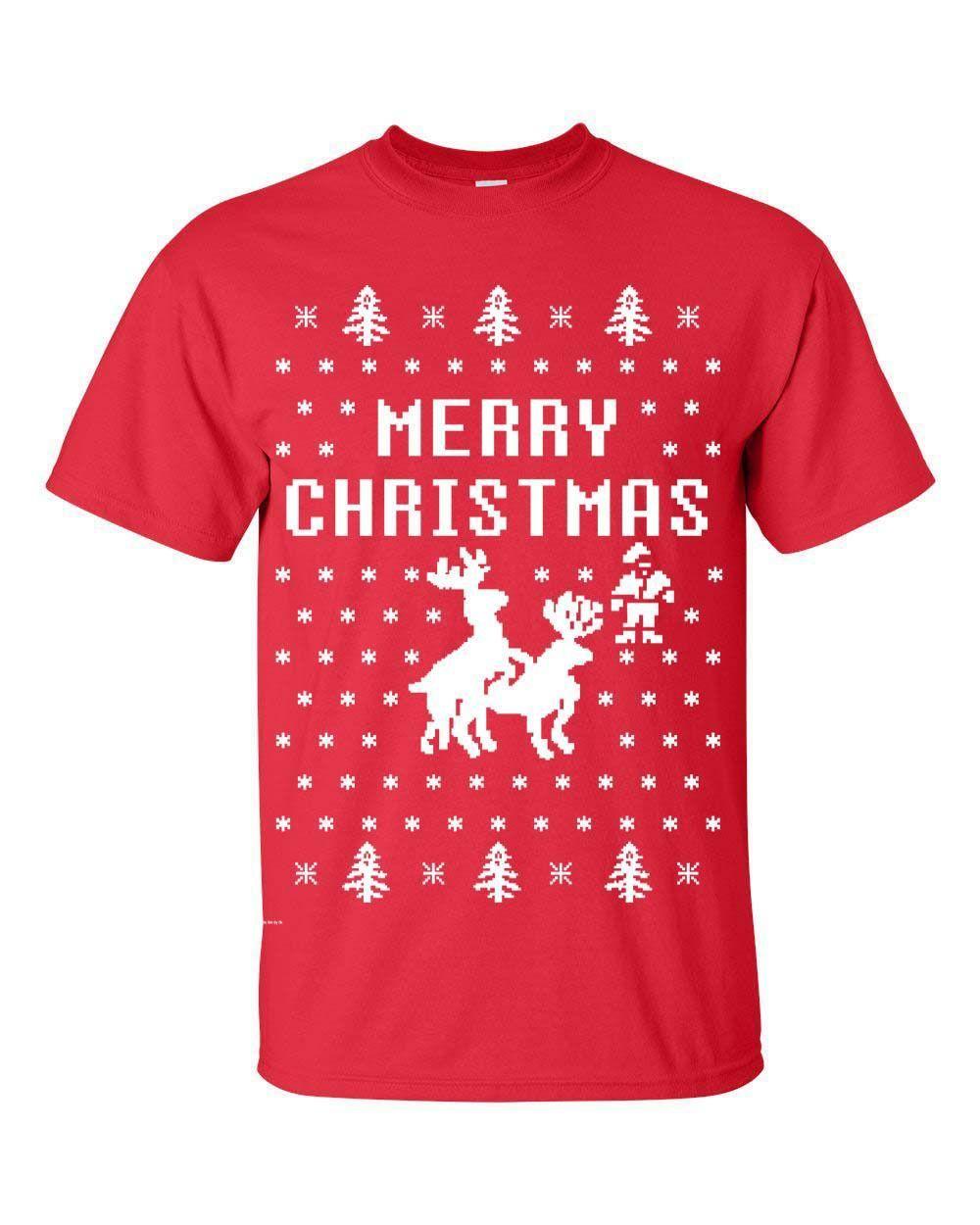 1fd9e8056 Merry Christmas Reindeer Humping Ugly Sweater Raindeer Funny Men's Tee Shirt