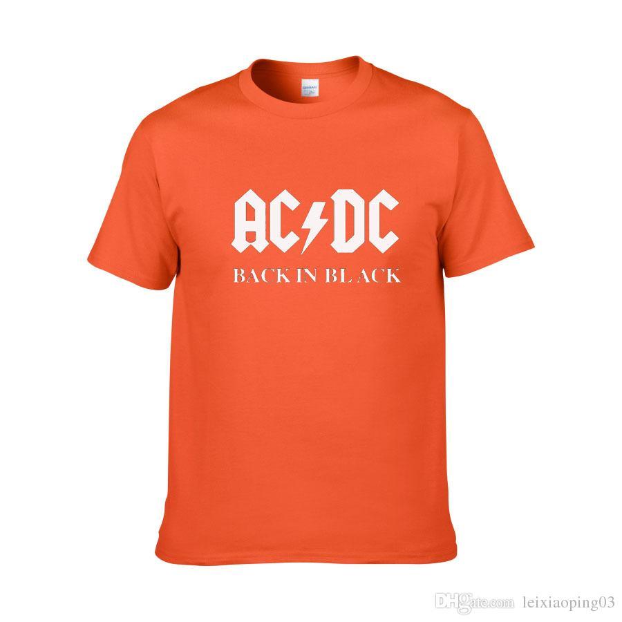 AC / DC Banda Rock T-Shirt dos homens ACDC BLACK Carta Impressa Gráfico Camisetas Hip Hop Rap Música de Manga Curta Tops Camiseta