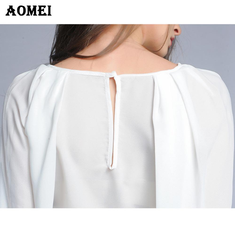 Été Blanc M L XXL Mousseline De Soie Femmes Chemisier Automne Mode Blusas Feminina Femme Bureau Casual Vêtements De Travail Tops Renda Chemises Vêtements