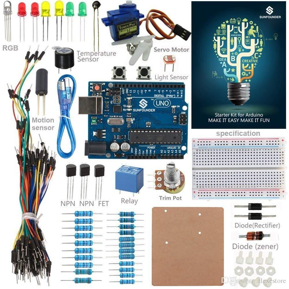 Starter Kit Standard For Arduino Uno R3 Mega 2560 Nano Circuit Board Breadboard Detail Jumper Wires Sensors Electronics With Manual Newest