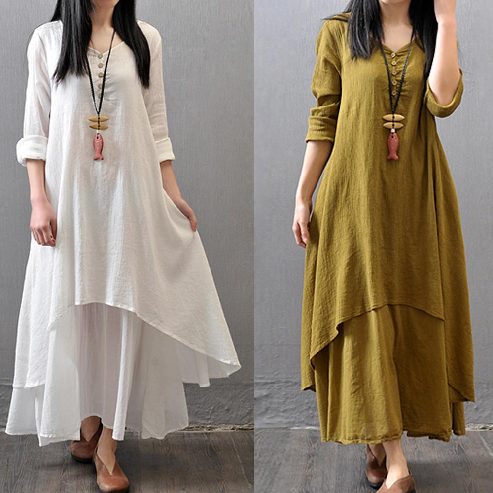 c9119df7aa 2018 Spring Summer Women Long Cotton Linen Dress White Plus Size False Two  Pieces O Neck Maxi Dresses Office Casual Loose Dress Party Gown Dress  Floral ...