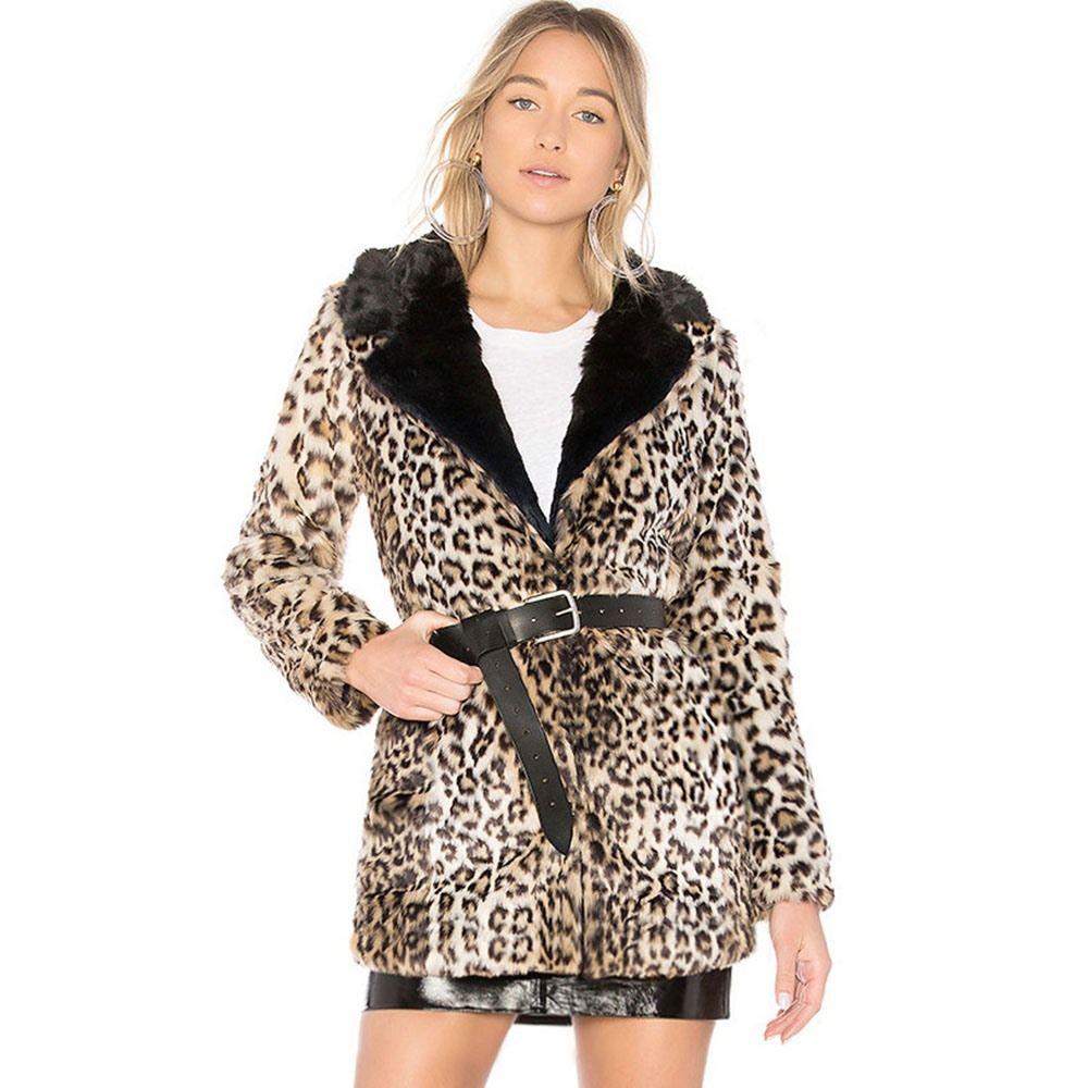 Compre Mujeres De Moda Abrigo De Piel Sintética Cardigan Prendas De Vestir  Exteriores Informal Recto Delgado Leopardo Streetwear Hipster Espesar  Cálido ... 62a53af1c3e