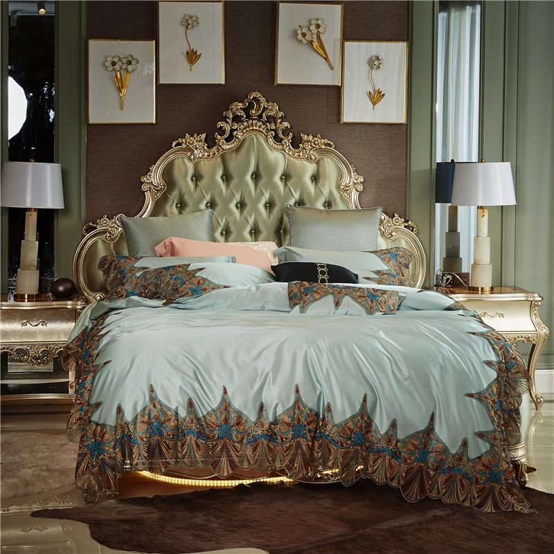 ec91046517ce 2018 Luxury Romantic Lace Embroidery Silk Cotton Wedding Bedding Set Duvet  Cover Bed Sheet Bed Linen Pillowcases Queen King Size Bedding For Boys  Train ...