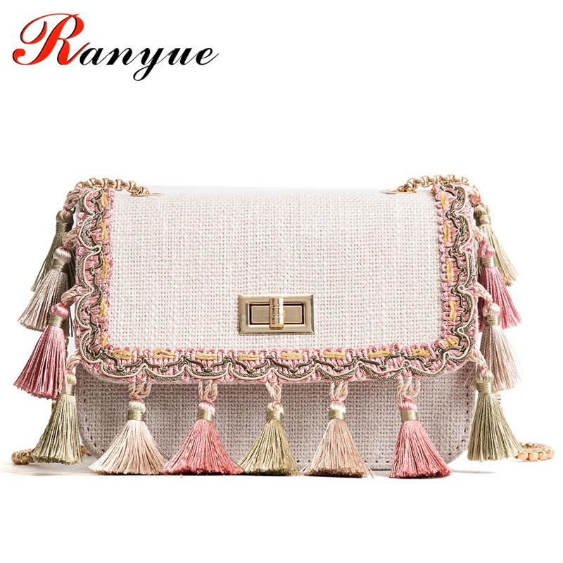 226154f7a9 RANYUE Boho Fringe Crossbody Bag High Quality Women Fashion 2018 Mini Chain Shoulder  Bag Canvas National Fashion Summer Evening Bags Stone Mountain Handbags ...