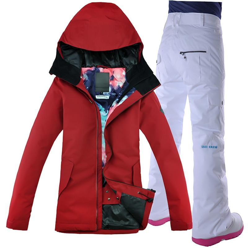 6884cfd463 2018 GSOU SNOW Women Ski Suit Ski Jacket Pant Windproof Waterproof Thermal  Outdoor Sport Wear Female Winter Clothing Trouser Set UK 2019 From Cbaoyu