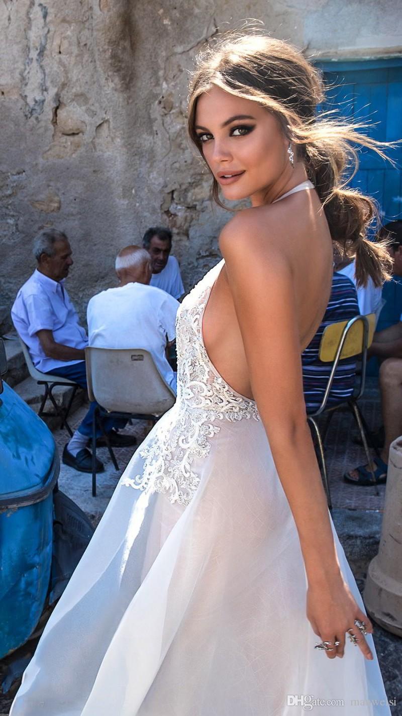 Sexy Halter Tiefem V-Ausschnitt Backless Brautkleider Berta 2018 Over Röcke Spitze Appliqued Brautkleider Nach Maß Hochzeitskleid