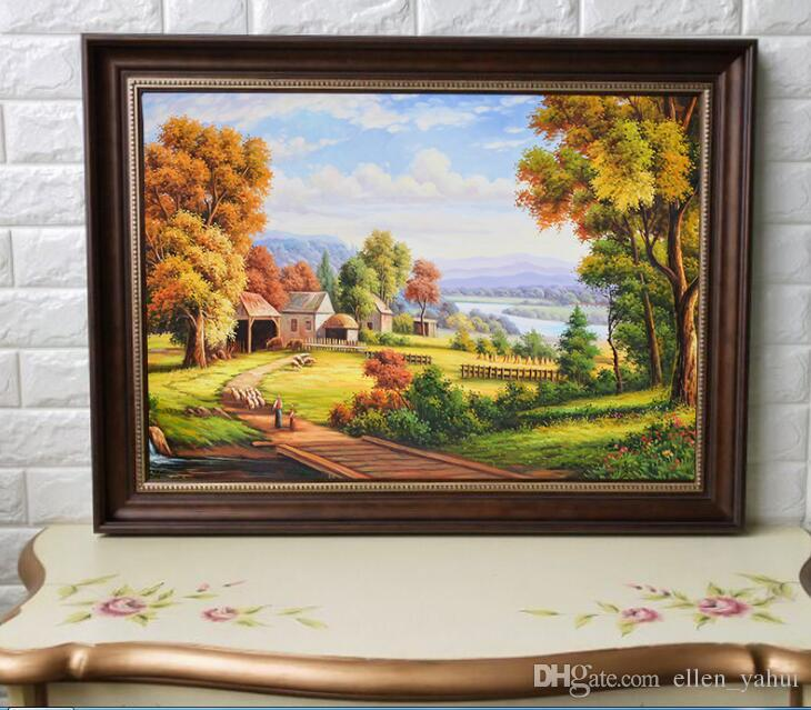American oil painting living room decorative painting landscape paint  dining room painting sofa background picture with photo frame 60*45cm
