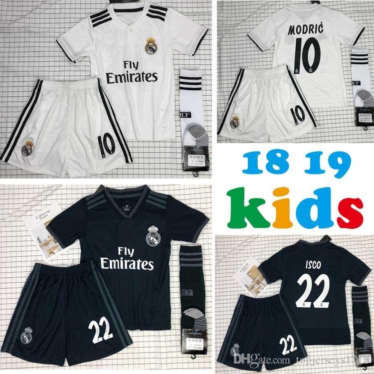 623b2a158 2019 2018 19 Real Madrid Kids Kits Soccer Jerseys Modric Kroos Bale Marcelo  18 19 Real Madrid Home Away 3rd Boys Soccer Football Jerseys From  Topjerseys1718 ...