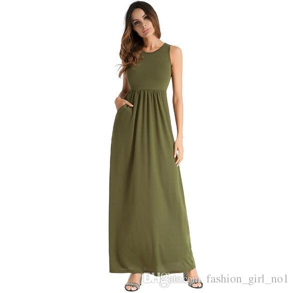 135805d661 2018 spring and summer hot women's solid color Casual vest dress sexy long  skirt beach dress