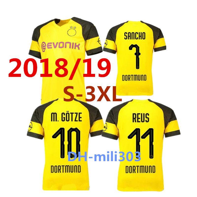 2019 Top Thai Quality 2018 2019 Borussia Dort Home Soccer Jersey 18 19  GOTZE MOR KAGAWA REUS SAHIN PULISIC Dortmundes Football Jersey Shirt S 3XL  From ... e8329f0da