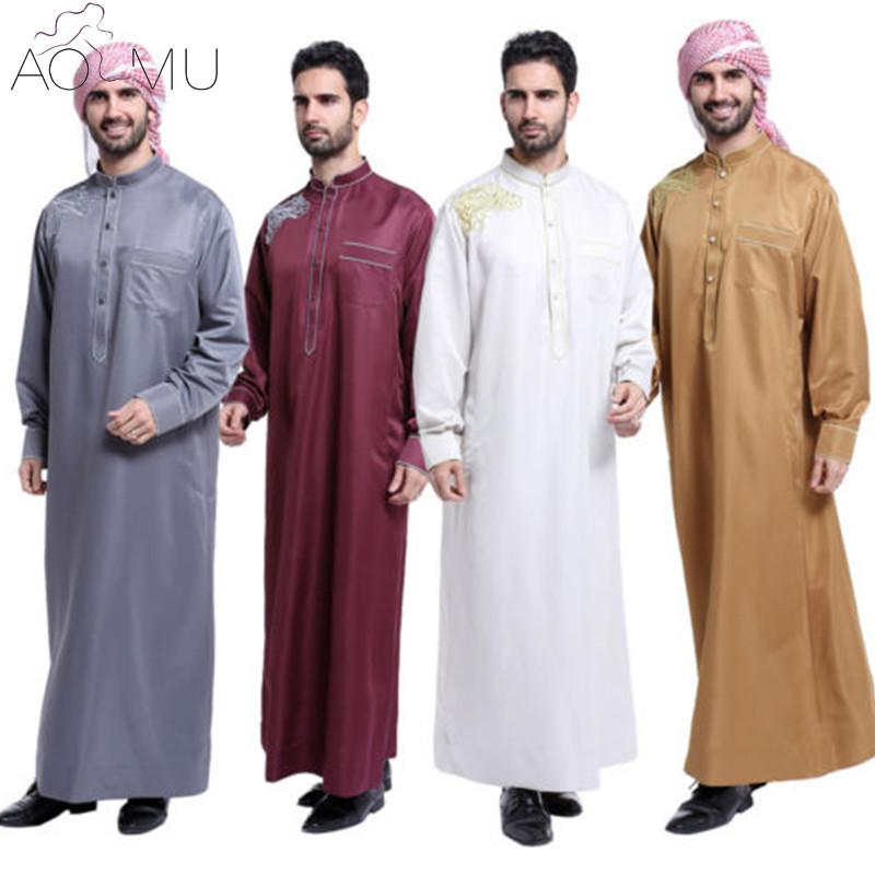 Wholesale- AOMU Men Saudi Thobe Islamic Muslim Clothing Arab Male People Dress Thobe Arabic Abayas Dress Indian Mens Kaftan Robe