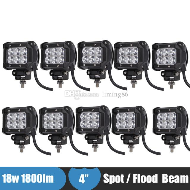 10PCS 18w 4 Inch Off Road LED Work Light Fog Lamp Spot Flood for Jeep Truck Car ATV SUV Boat 4WD ATV Auxiliary Driving Headlight