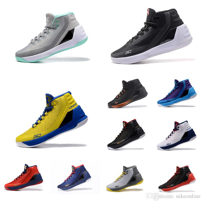 the best attitude 08007 5a8bb Cheap Mens UA Curry 3 basketball shoes Black Gold Red USA Grey Blue Yellow  White Stephen Currys high tops sneakers boots for sale with box