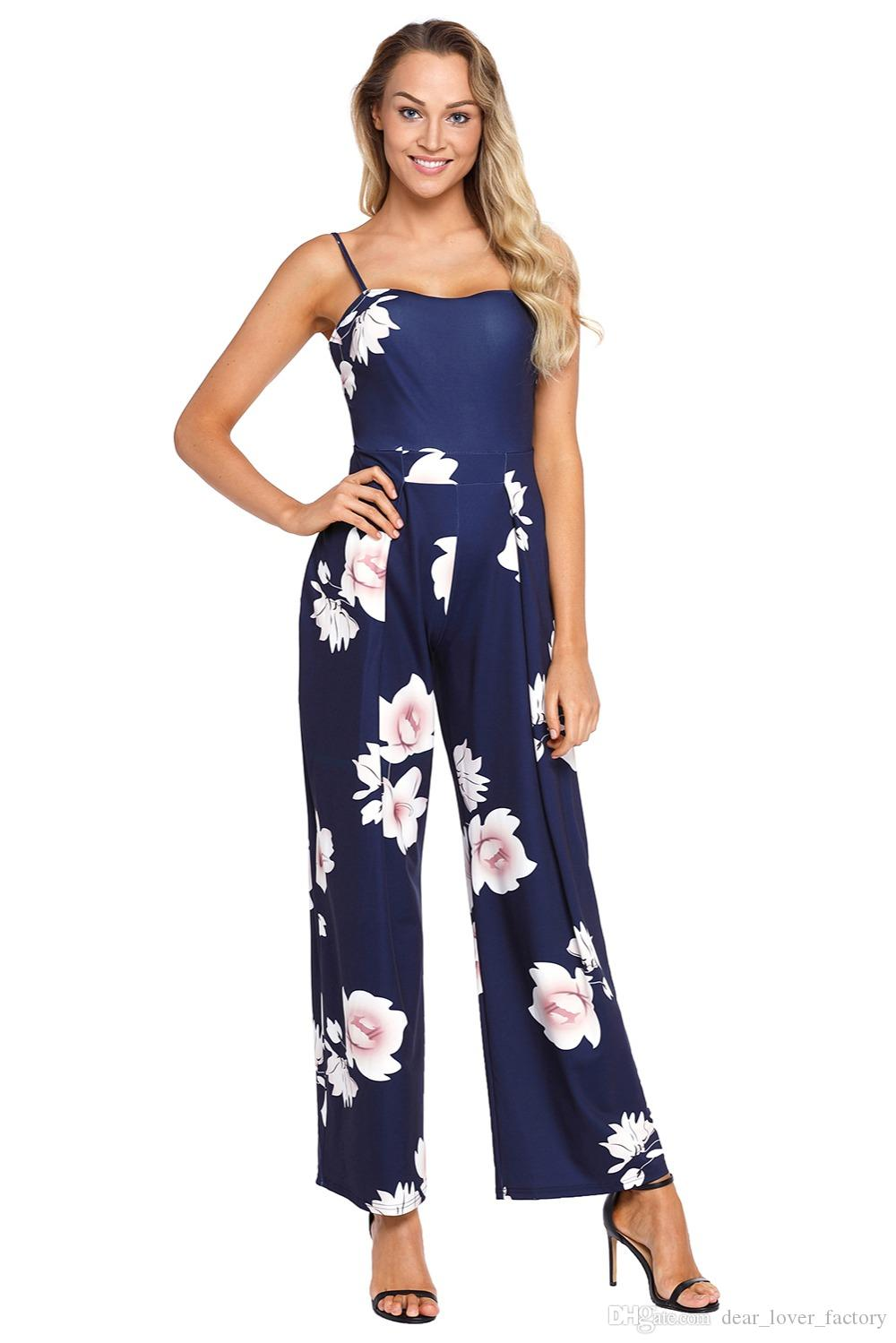 5873d410c11 2019 2018 Summer Long Playsuit Boho Style Navy Blue Floral Print Spaghetti  Strap Wide Leg Jumpsuit Overalls Female Jumpsuits From Dear lover factory