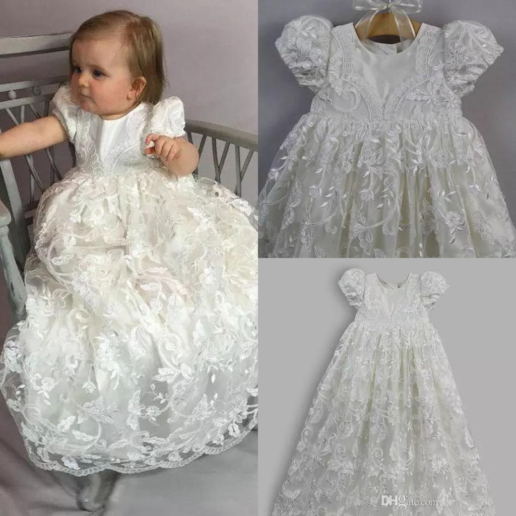 581e95c46 Hot Sales Ivory Full Length Christening Dresses With Short Sleeves Bonnet  Jewel Lace Long Baptism Gown Toddler First Communication Dress Communion  Outfits ...
