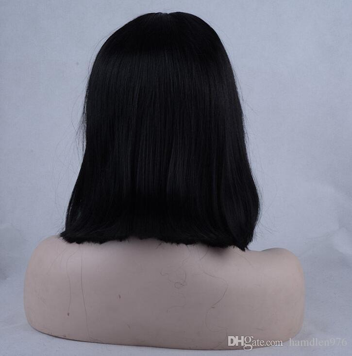 Free shippingnew Vendita calda !!! Parrucche sintetiche anteriori del merletto dei capelli di colore nero dell'acconciatura diritta media di modo
