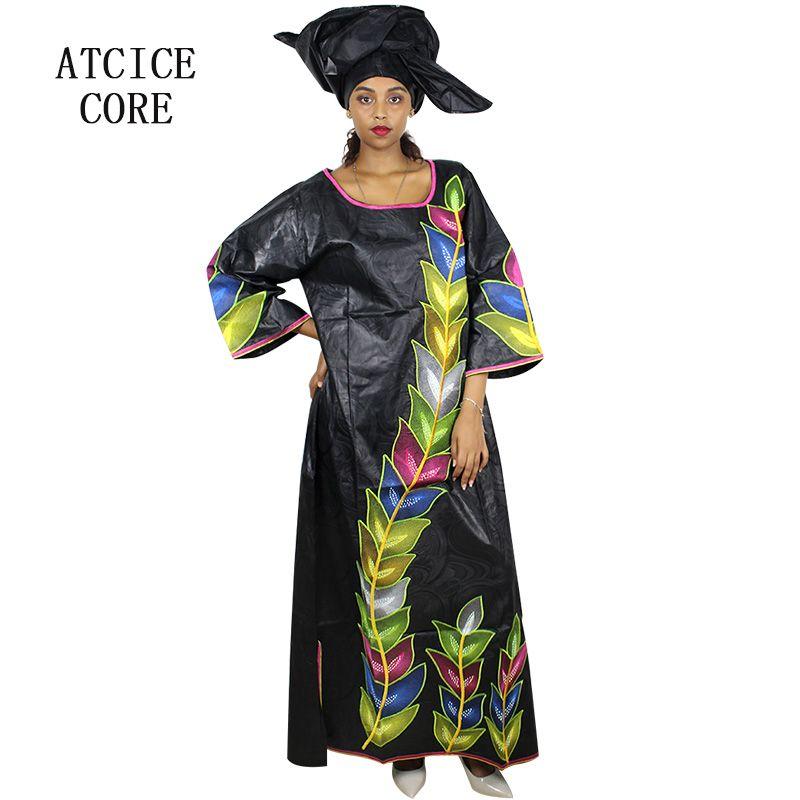 Acheter 100% Coton Africain Robes Pour Femmes Africaines Bazin Riche  Broderie Conception Longue Robe Avec Foulard De  59.05 Du Wochanmei    DHgate.Com e6060a2702a
