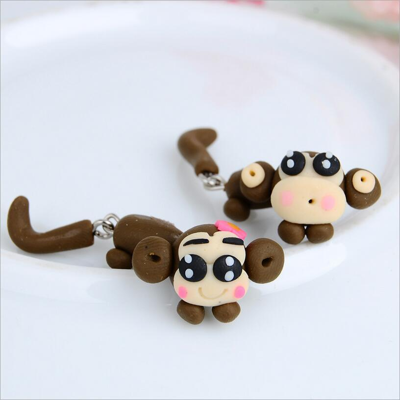2016 New Hot Fashion Fine Jewelry Cartoon Soft Ceramic Cute Animals 3D Couple Monkey Stud Earrings For Women And Girl Gift E-133
