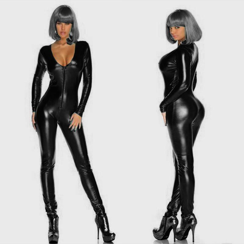 f9db0dadd65 2019 Five Colors V Neck Wetlook Adult Lingerie Leather Catsuit Catwomen Sexy  Erotic Bodysuits Underwear Zipper To Crotch Jumpsuits From Fetishqueen