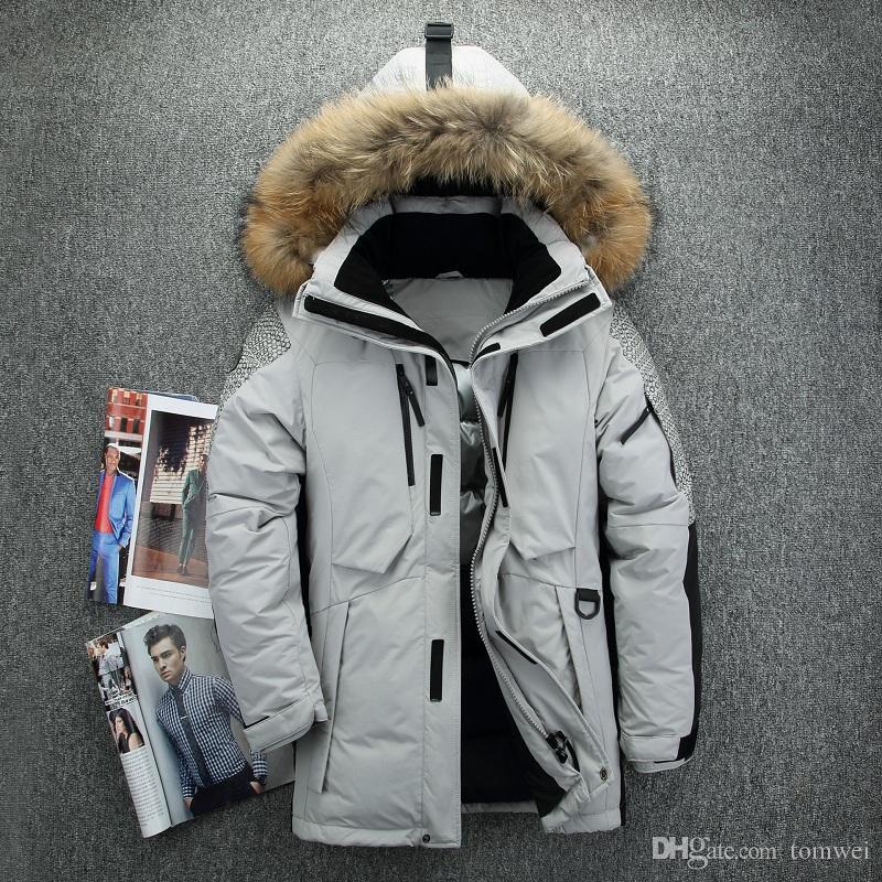 031d01f9ee6 Outdoor Down Jackets Mens Down Parkas Winter Coat Hoodies Real Fur Collar  Outweat Snow Overcoat Tops Waterproof 2018 Big Size