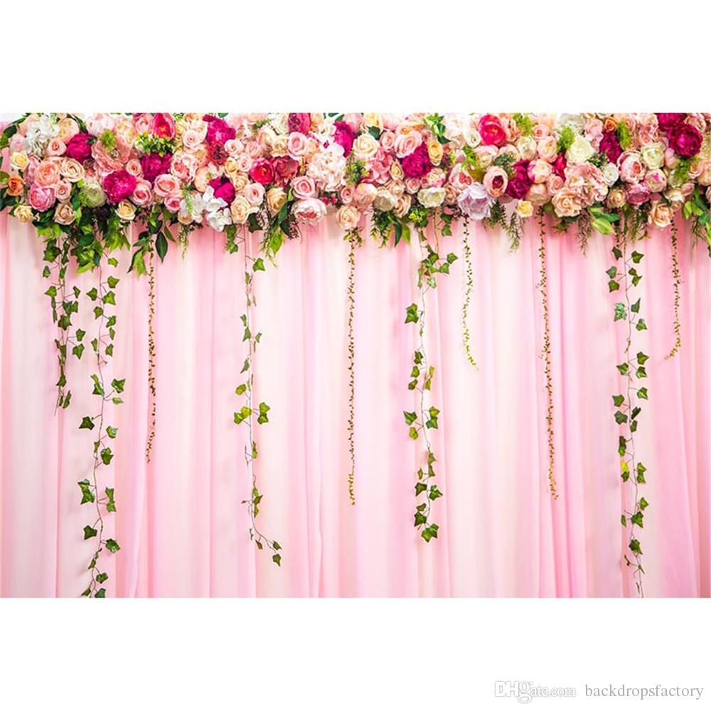 2019 Digital Printed Roses Pink Curtain Photo Backdrop For Wedding Green Vines Princess Girl Birthday Party Booth Background From Backdropsfactory