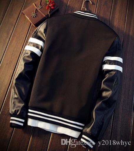 Nueva tendencia de primavera de los jóvenes Chaqueta delgada casual elegante abrigo de béisbol PU de cuero cosido chaquetas juveniles