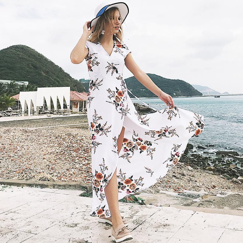 8d1582cb4a7d 2019 Summer Beach Long Dress 2018 Women Floral Print White Black Plus Size  Maxi Dresses Split Elegant Casual New Hot Sale Dress Lady From Bellecome,  ...