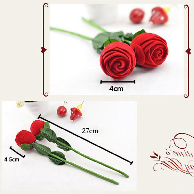 Rose gift box Charm Red Rose Flower Ring Box Party Earring Pendant Jewelry Gift Case Display Pack Boxes Christmas Toy