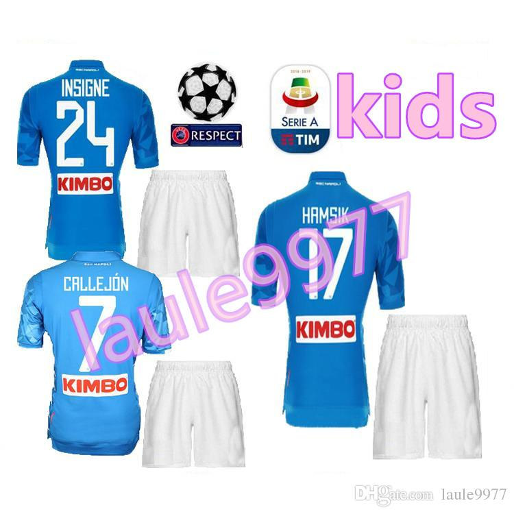 19a26c27a 2019 Kids Kit 18 19 Napoli Soccer Jersey Home 2018 2019 Naples ZIELINSKI  HAMSIK INSIGNE MERTENS CALLEJON PLAYER ROG Football Shirts Top Quality From  ...