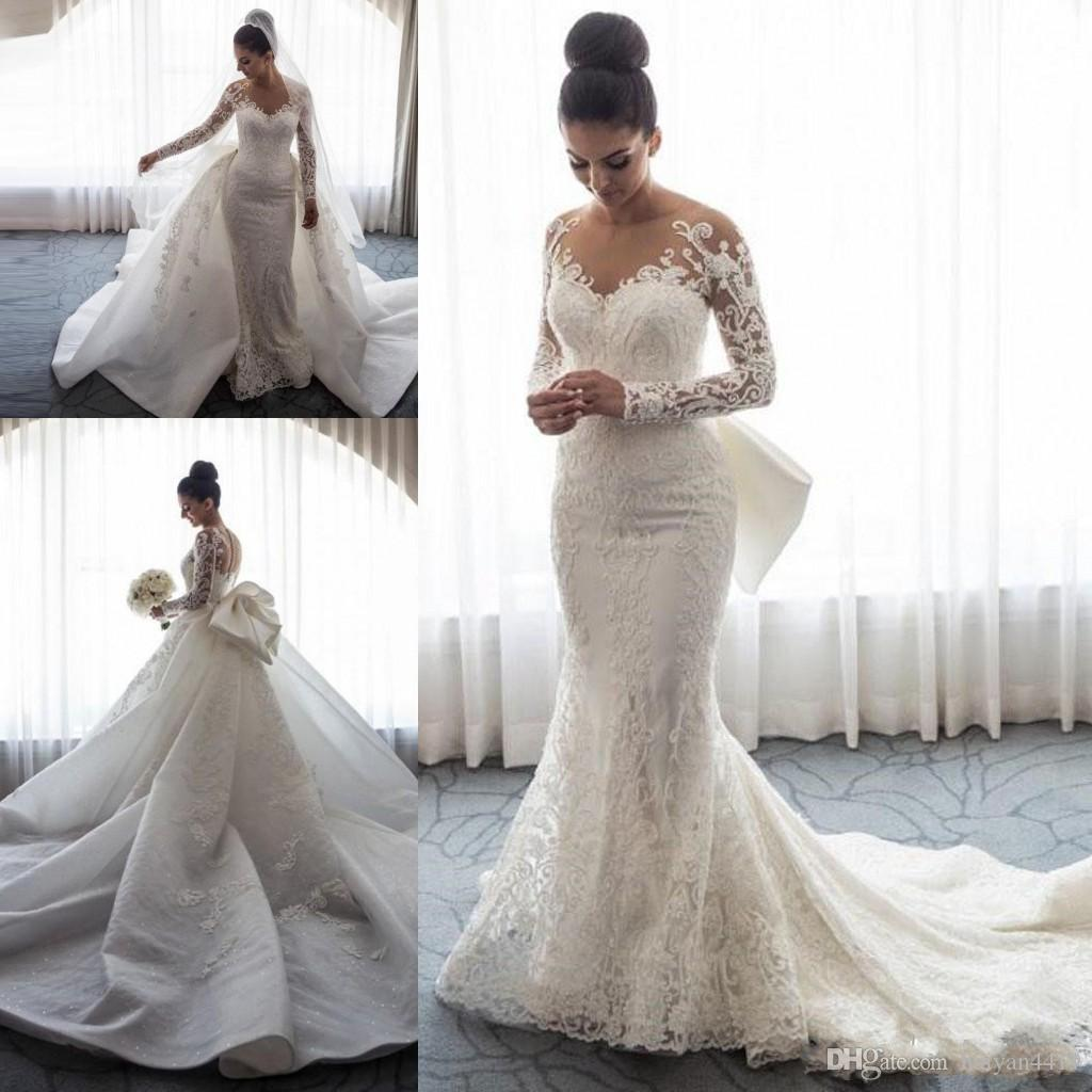 d1bf2ee31f 2018 Luxury Mermaid Wedding Dresses Sheer Neck Long Sleeves Illusion Full  Lace Applique Bow Overskirts Button Back Chapel Train Bridal Gowns