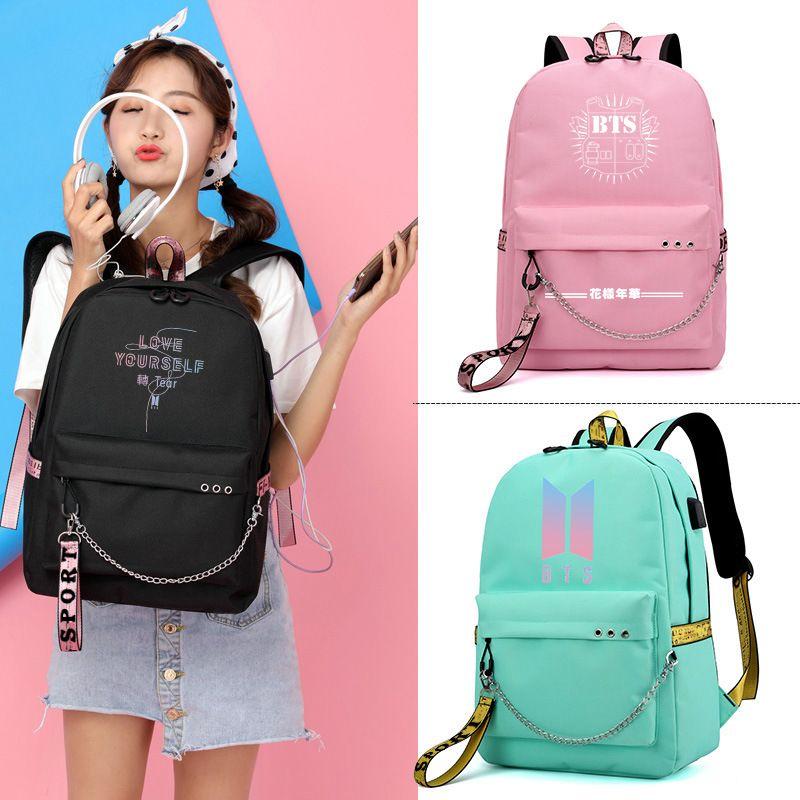 Cute Korean BTS Printing Backpack USB Interface Laptop Bags Canvas School  Bag For Teenage Girls Rucksack BTS Fan Gifts Rolling Backpack Toddler  Backpacks ... 55fee79072278