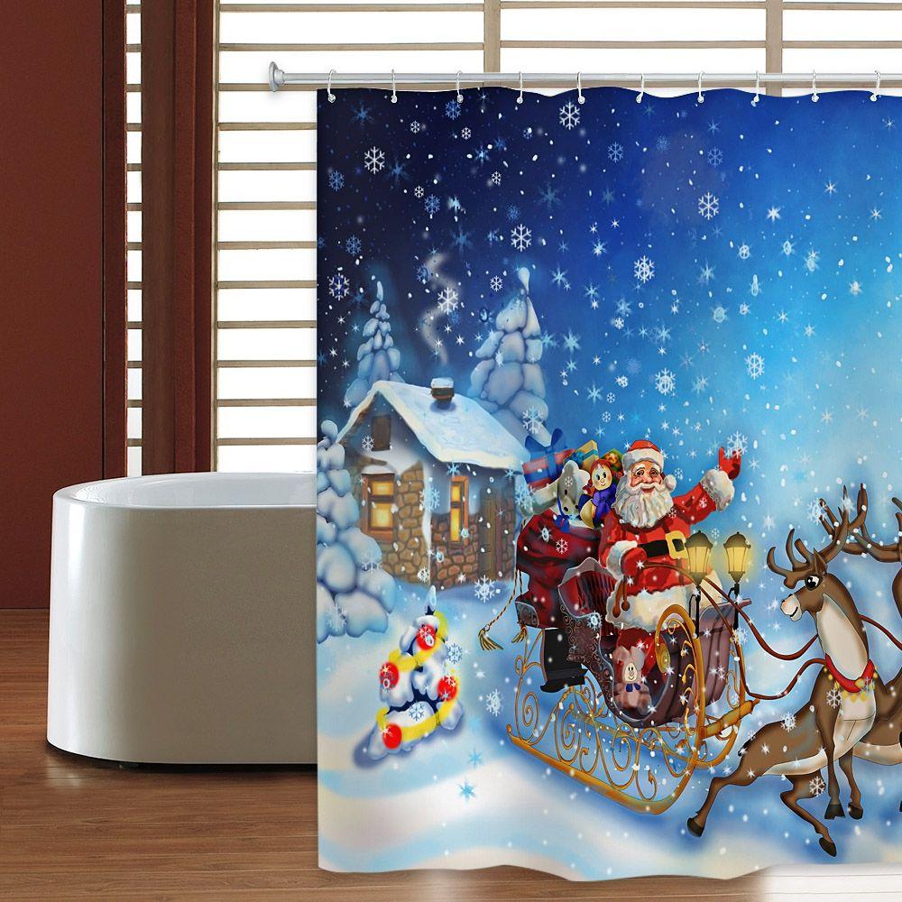 Christmas Shower Curtain Sleigh Elk Waterproof Mildew Resistant Fabric 180 X 180cm Polyester 3D Printing Curtains 12 Hooks Bathroom