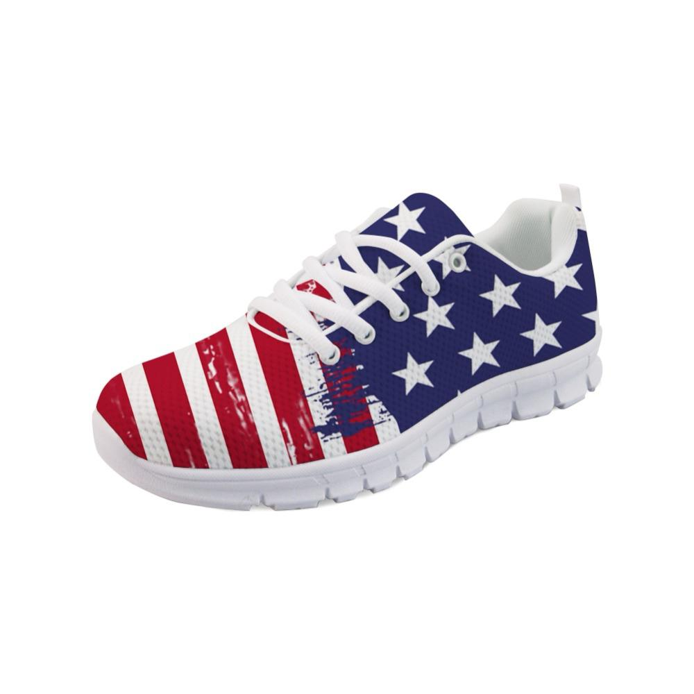 NOISYDESIGNS 3D USA Flags Print Casual Women S Sneakers Fashion Female  Light Weight Comfortable Mesh Shoes For Ladies Flat Girls Wedges Shoes  Black Shoes ... 6cb09a3d99