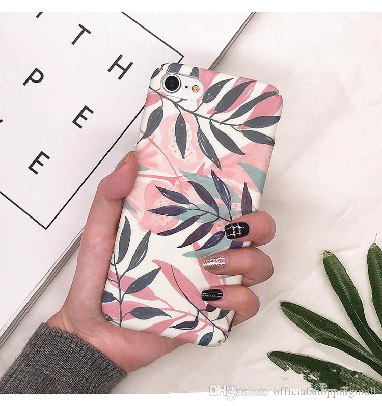33e9bf633eb Fashion Artistic Leaf Phone Hard Case For IPhone 7 6 6S 8 Plus Frosted Hard  Bags For IPhone6S X Leaves Back Cover Funda Shell Customized Cell Phone  Case ...