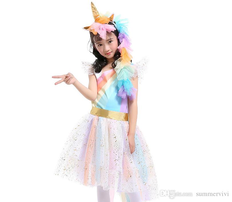 adbdd5722308a 2019 Unicorn Children Rainbow Stripe Pageant Dress Girls Sequins Lace Tulle  Dress Kids Angle Wings Cosplay Party Dresses Kid Princess Dress F1265 From  ...