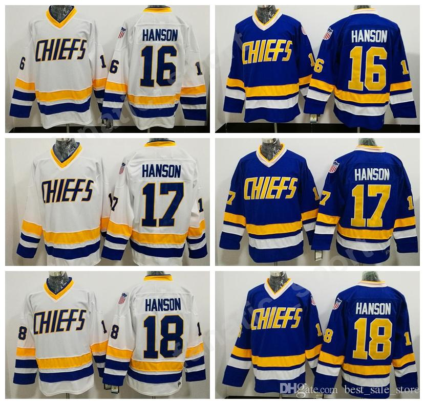2019 Charlestown Chiefs Jerseys Slap Shot Movie Hockey 16 Jack Hanson 17  Steve Hanson 18 Jeff Hanson Jersey Stitched Tean Blue Alternate White From  ... 4e293d093