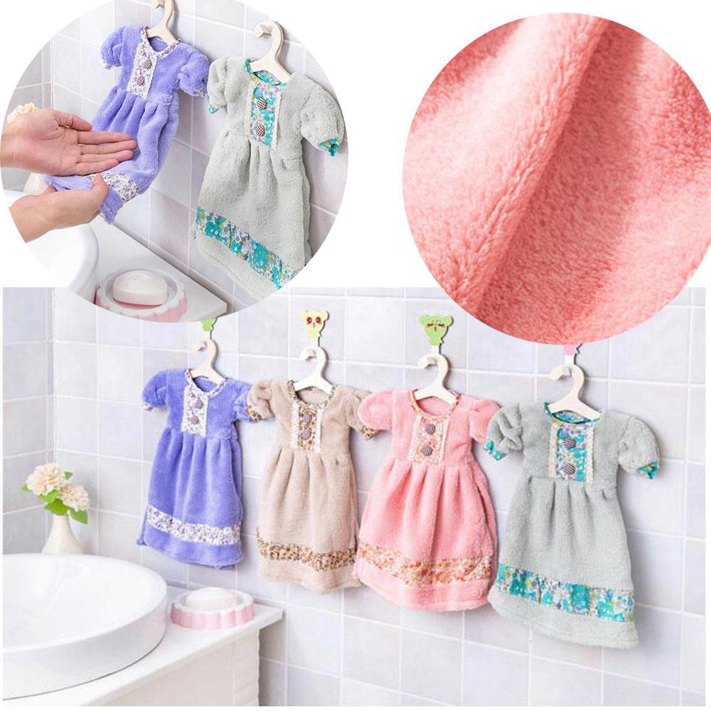 Home Super Absorbent Hand Towel Cute Soft Dress Shaped Dishcloth ...