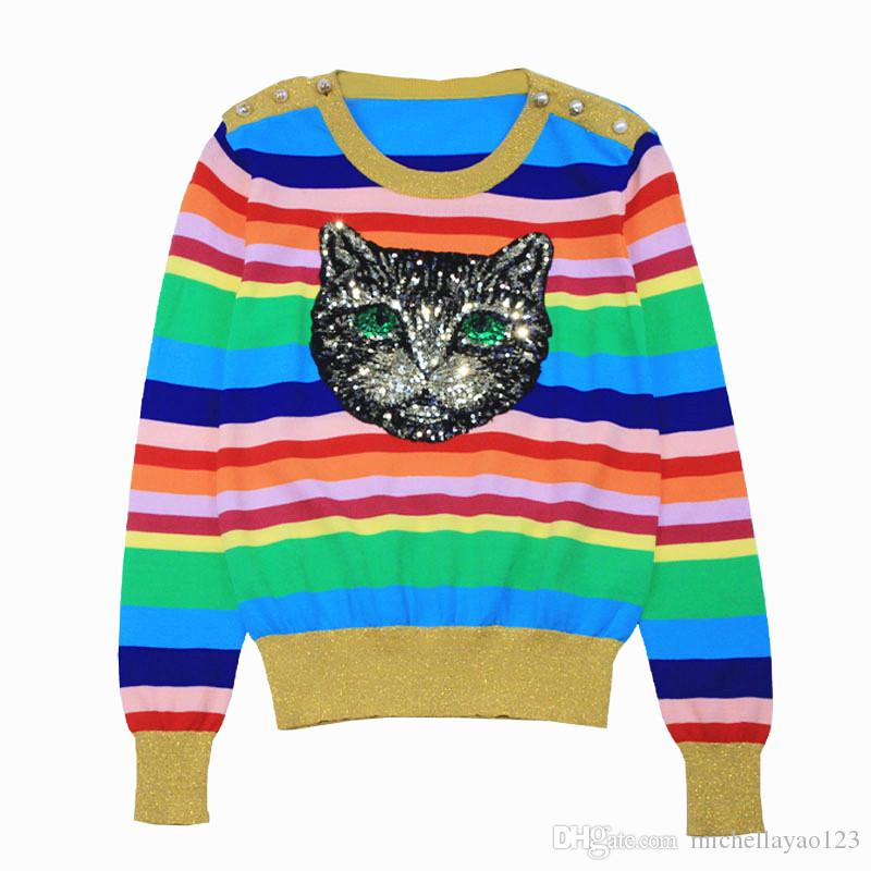 c36c33095fae5 2019 Top Colorful Striped Pullovers Women 2018 Long Sleeves Cat Print  Button Women S Sweaters Pull Femme 070406 From Michellayao123