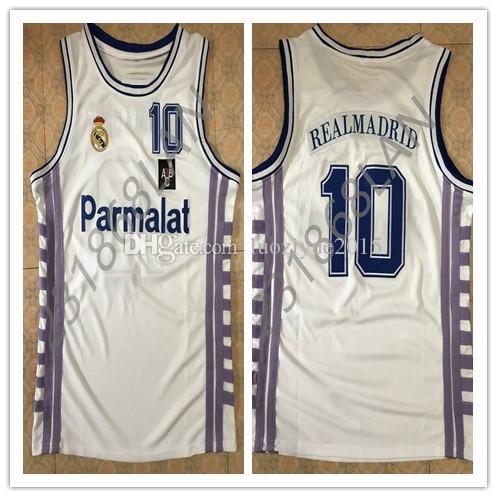 8a278314f 2019 Vintage Men S White  10 Drazen Petrovic Real Madrid Basketball ...