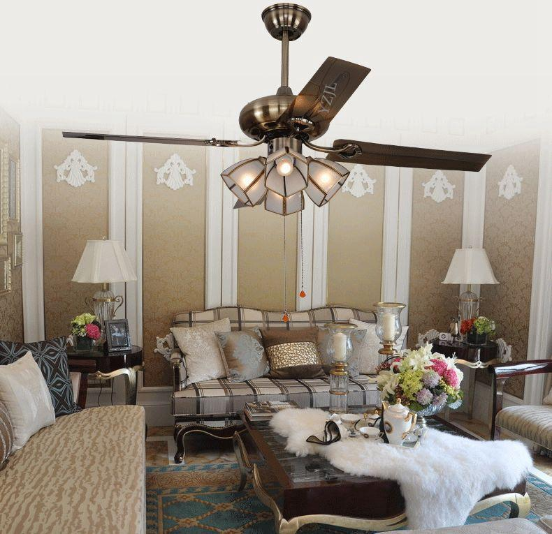 Continental Antique Copper Ceiling Fan Lamp Simple Fashion Light Modern Bedroom Door Restaurant 48inch
