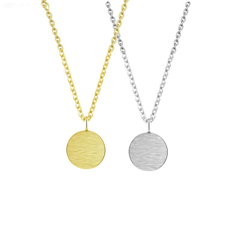 395954258a64d9 Wholesale Simple Brushed Round Pendant Necklaces For Women Men Long Chain Rose  Gold Colar Stainless Steel Colares Circle Karma Necklace Necklace Pendants  ...