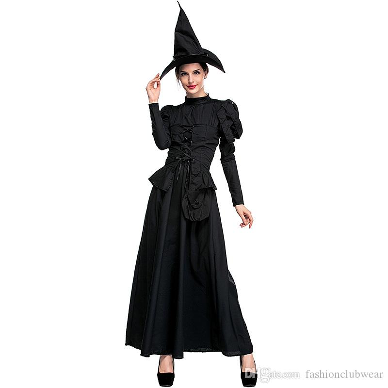 Classic Magic Witch Cosplay Clothing Halloween Party Costume For Adult Women Black Fly Witch Party Cosplay Long Dress With Hat