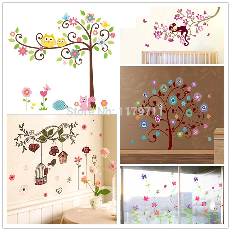 Stupendous Zs Sticker Trees Flowers Wall Stickers Child Role Of Children Picture Removable Wallpaper Baby Room Girls Bedroom Download Free Architecture Designs Rallybritishbridgeorg