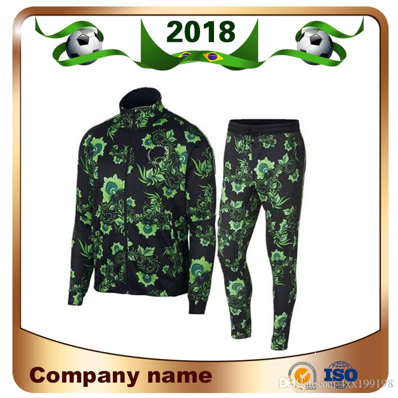 4570b81f0 2018 Copa do Mundo Nigéria treinamento Terno de Futebol Jaqueta 2018 Nigéria  Verde Manga Longa Kit Jaqueta Nacional de Futebol Terno Calças Jaqueta Unifo