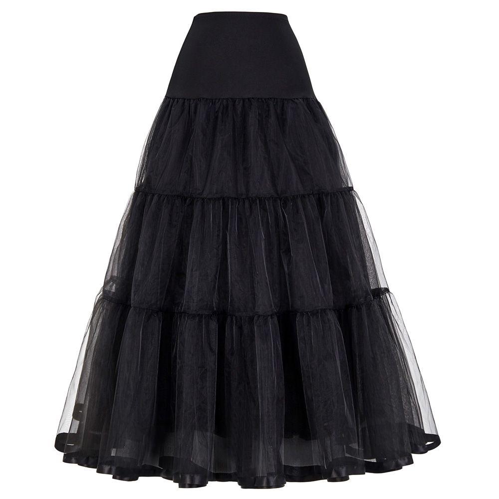 Women Black Red Retro Skirt For Wedding Fashion Vintage Long Skirts ...