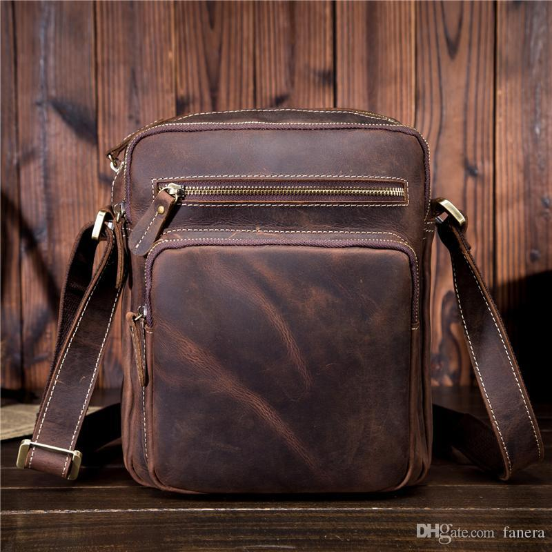 716b106c28a1 Men S Genuine Leather Handbag Vintage Men Bags Small Casual Flap Shoulder  Crossbody Bag Travel Bag Man Totes For Phone SDM9349 Women Handbags Weekend  Bags ...