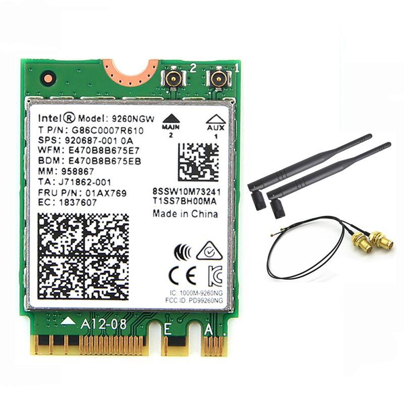 Wireless For Intel AC 9260 9260NGW 802 11ac NGFF WiFi Bluetooth 5 0 Card  6dbi IPEX MHF4 U fl To RP-SMA External Antenna Set